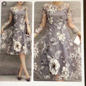 MISSLOOK Gray Floral Dress